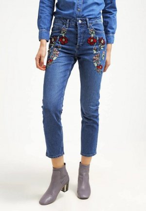 Topshop High Waist Embroidered Mom Jeans Cropped Blogger Cosy Trend W28