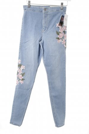 Topshop High Waist Jeans himmelblau Blumenmuster Casual-Look
