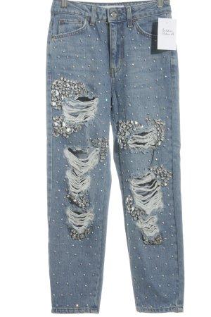 Topshop High Waist Jeans himmelblau-silberfarben extravaganter Stil