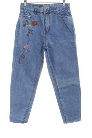 Topshop High Waist Jeans kornblumenblau Blumenmuster schlichter Stil
