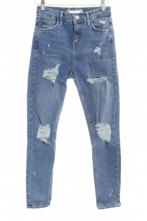 Topshop High Waist Jeans kornblumenblau Destroy-Optik