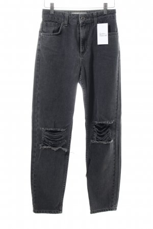 Topshop High Waist Jeans schwarz Destroy-Optik