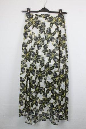 Topshop High waist Rock Gr. 38 gelb schwarz weiß mit Flower Print (18/3/004)