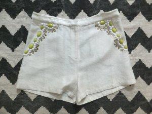 Topshop Hotpants 42 40 Shorts Weiß bestickt Applikationen NP: 55 EUR NEU!