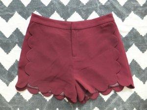 Topshop Hotpants Shorts 40 38 Muschelsaum Bordeauxrot NEU!