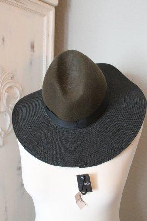 Topshop Chapeau en feutre noir-kaki coton