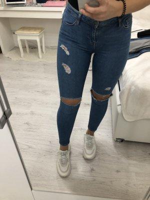Topshop Jamie High waist Jeans zerissen Blau skinny