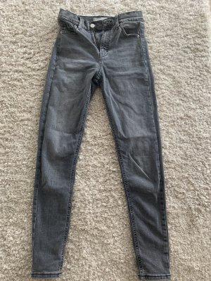 Topshop Hoge taille jeans grijs
