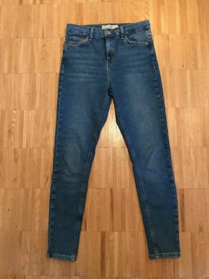 Topshop Pantalon taille haute bleu acier coton