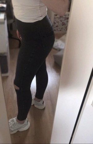 Topshop Jeans taille haute gris foncé-noir