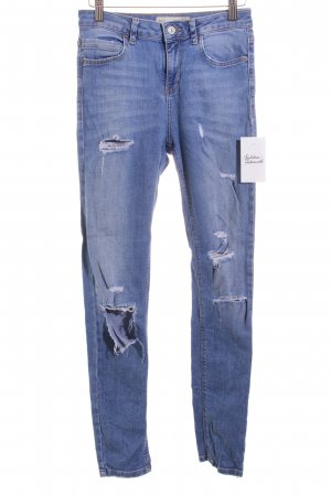 Topshop Jeans wollweiß-hellblau Destroy-Optik