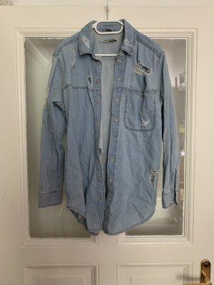 Topshop Chemise en jean bleu clair-bleu azur