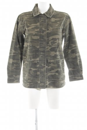 Topshop Jeansjacke khaki-creme Camouflagemuster Casual-Look