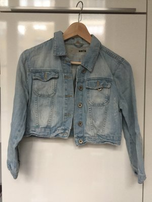 Topshop Veste en jean bleu azur-bleuet coton