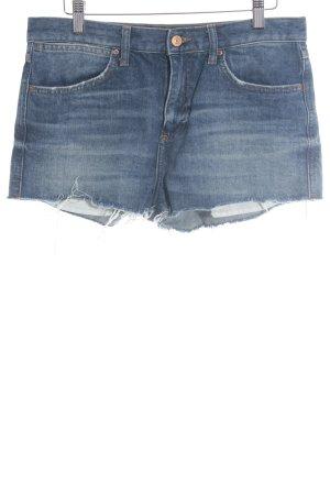 Topshop Jeansshorts graublau-wollweiß Destroy-Optik