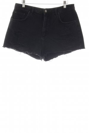 Topshop Denim Shorts black distressed style