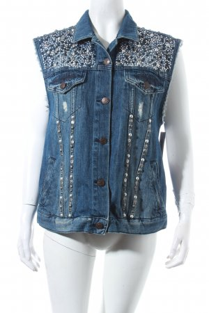 Topshop Smanicato jeans blu scuro stile da moda di strada