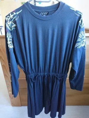 Topshop Robe à manches longues bleu foncé-gris anthracite viscose
