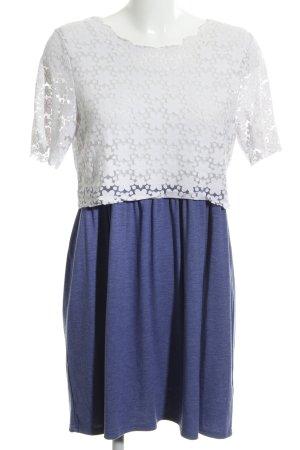 Topshop Jerseykleid weiß-neonblau Blumenmuster Casual-Look