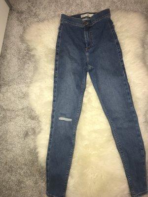 Topshop Jeans taille haute bleu acier