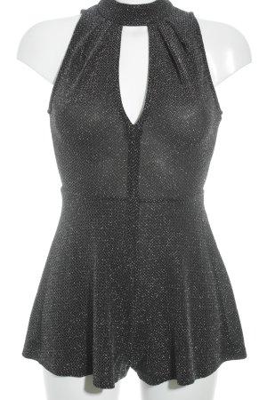 Topshop Jumpsuit zwart-zilver zigzag patroon feest stijl