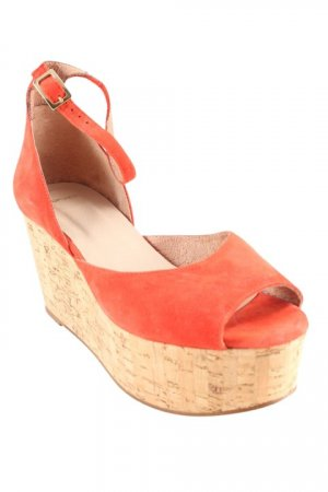 Topshop Keil-Pumps rot-hellbraun Beach-Look