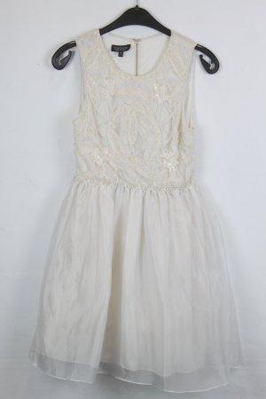 Topshop Kleid Gr. 38 weiß, hellbeige mit Pailletten (18/4/117)