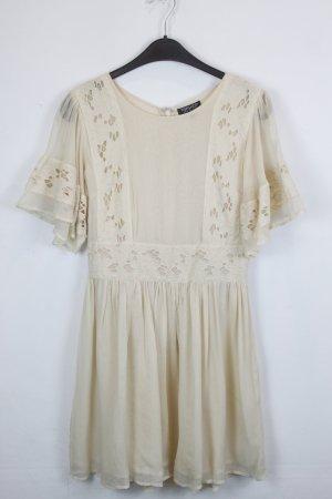 Topshop Kleid Spitzenkleid Gr. 38 hellgelb mit Blumen Muster (18/3/126)