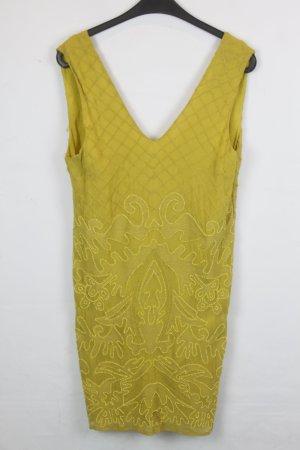 Topshop Kleid Trägerkleid Gr. S gelb mit Strick und Perlen Applikationen (18/4/129)