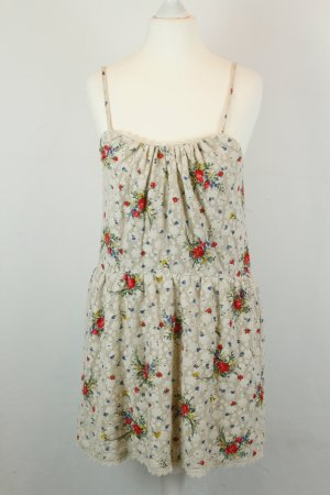 Topshop Kleid Trägerkleid Spitzenkleid G. 36 beige Blumen
