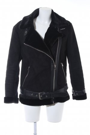 Topshop Fake Fur Jacket black biker look