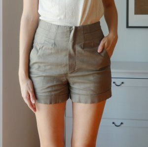 Topshop Kunstleder Leder Shorts Highwaisted Hotpants grau Gr. 38