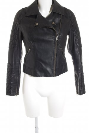 Topshop Faux Leather Jacket black street-fashion look