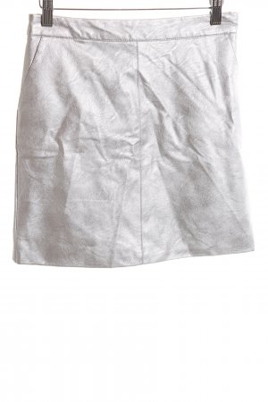 Topshop Faux Leather Skirt silver-colored wet-look