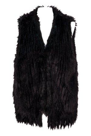 Topshop Fake Fur Vest black mixture fibre