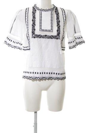 Topshop Kurzarm-Bluse weiß-schwarz Casual-Look