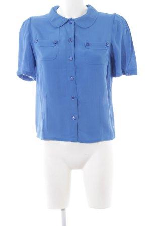 Topshop Kurzarm-Bluse blau Street-Fashion-Look