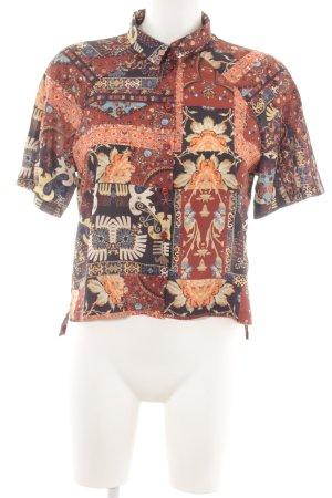 Topshop Kurzarm-Bluse braun abstraktes Muster extravaganter Stil