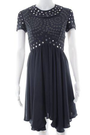 Topshop Kurzarmkleid dunkelblau-silberfarben Elegant