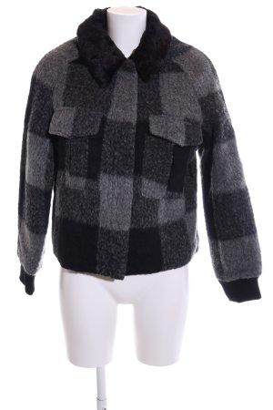Topshop Veste courte noir-gris clair motif à carreaux style décontracté