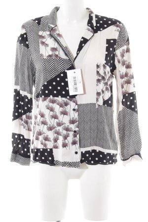 Topshop Langarm-Bluse weiß-schwarz Casual-Look