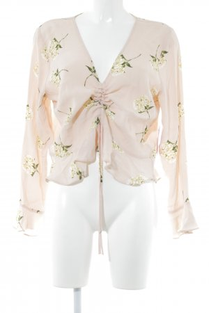 Topshop Langarm-Bluse apricot Blumenmuster Casual-Look