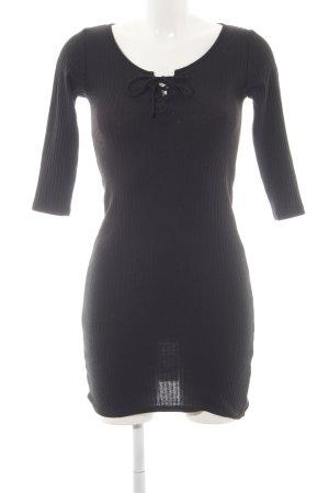 Topshop Langarmkleid schwarz Streifenmuster Elegant