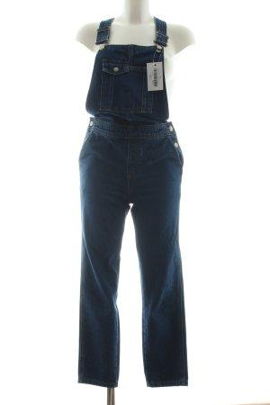 Topshop Jeans met bovenstuk blauw gestippeld Boho uitstraling