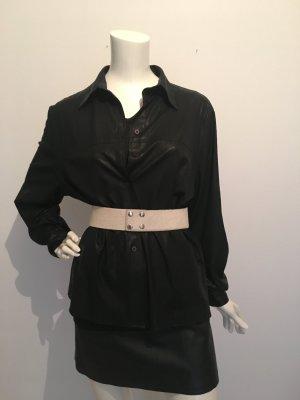 Topshop Leder London  Kuhfell offwhite Taille S/M tailliert taillengürtel Druckknöpfe corsage schnüren sexy cool schwarz
