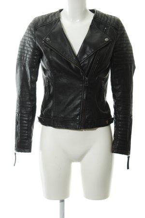 Topshop Lederjacke schwarz-silberfarben Rockabilly-Look