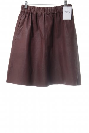 Topshop Gonna in pelle marrone-rosso stile casual