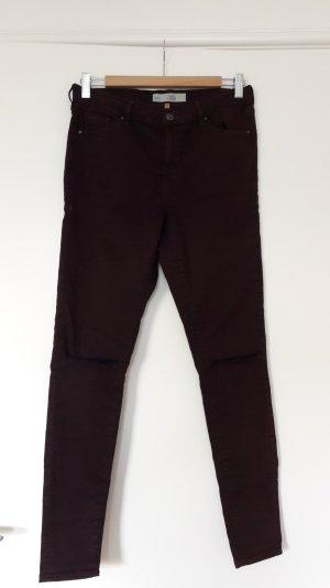 Topshop Pantalon cigarette bordeau-brun rouge
