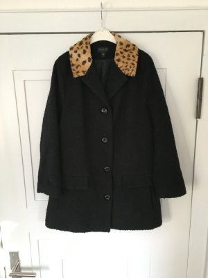 Topshop Leopard Collar Kragen Mantel Car Coat in schwarz Gr. 36/38 Oversized