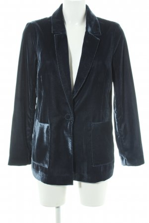 Topshop Long-Blazer petrol Samt-Optik